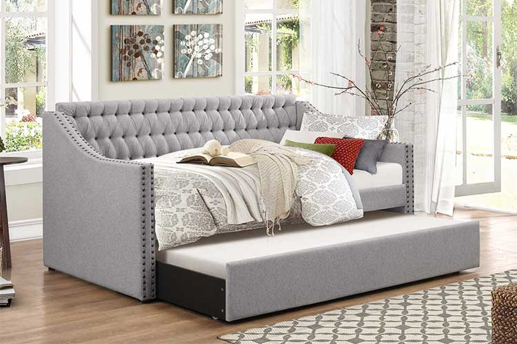 Sofá cama con sistema de apertura delfín