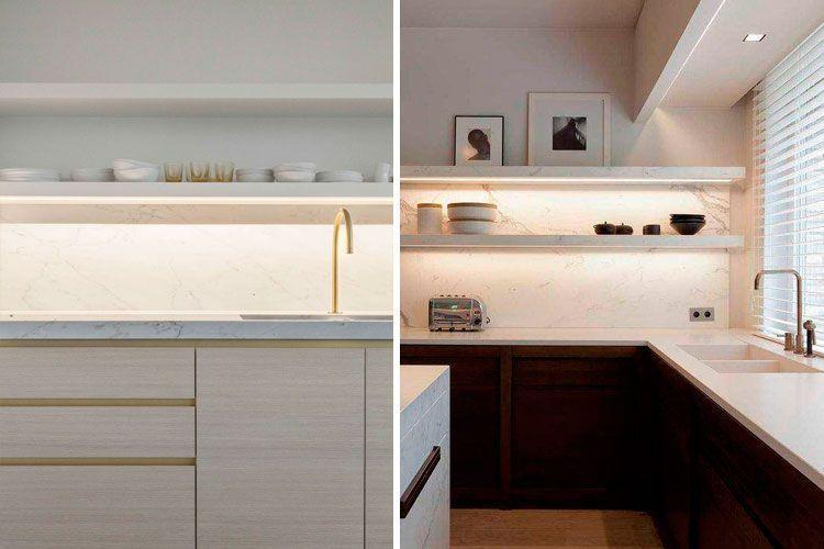 Cocinas de diseño sin muebles altos
