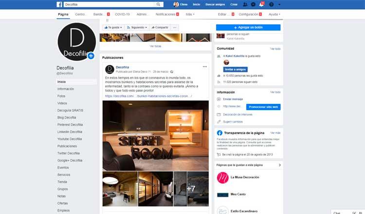 Decofilia - cuentas en redes sociales
