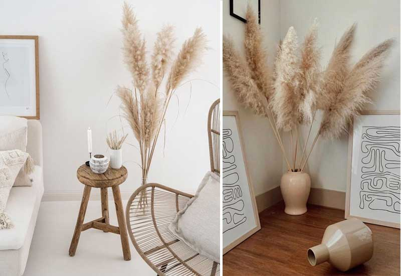 ideas para decorar con hierba de la Pampa