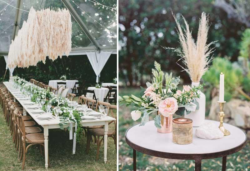 como decorar con hierba de la Pampa