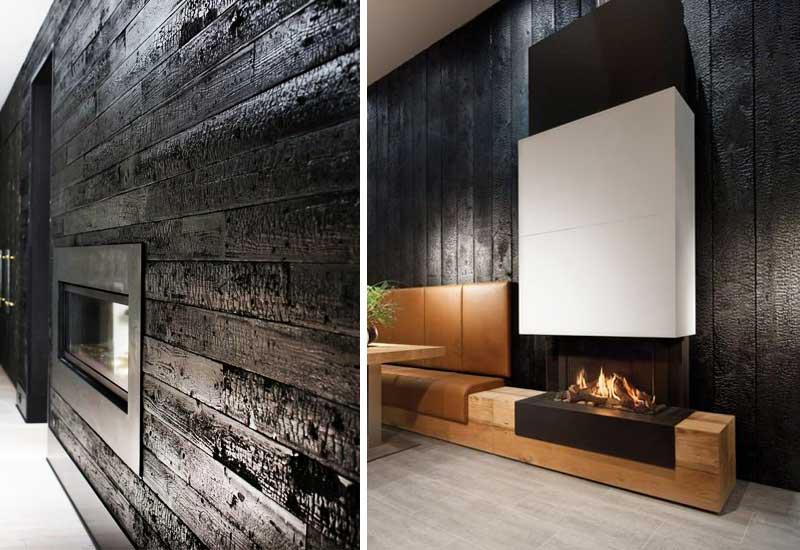 La madera quemada en decoración de interiores