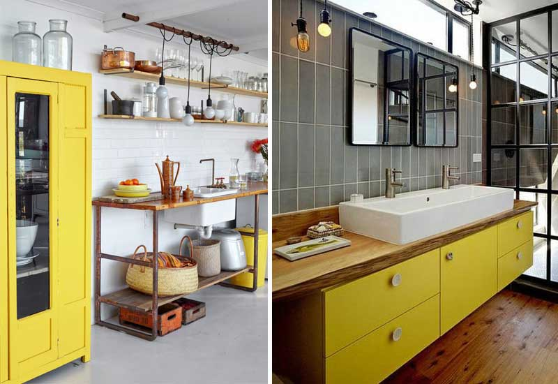 Amarillo y gris en la decoración