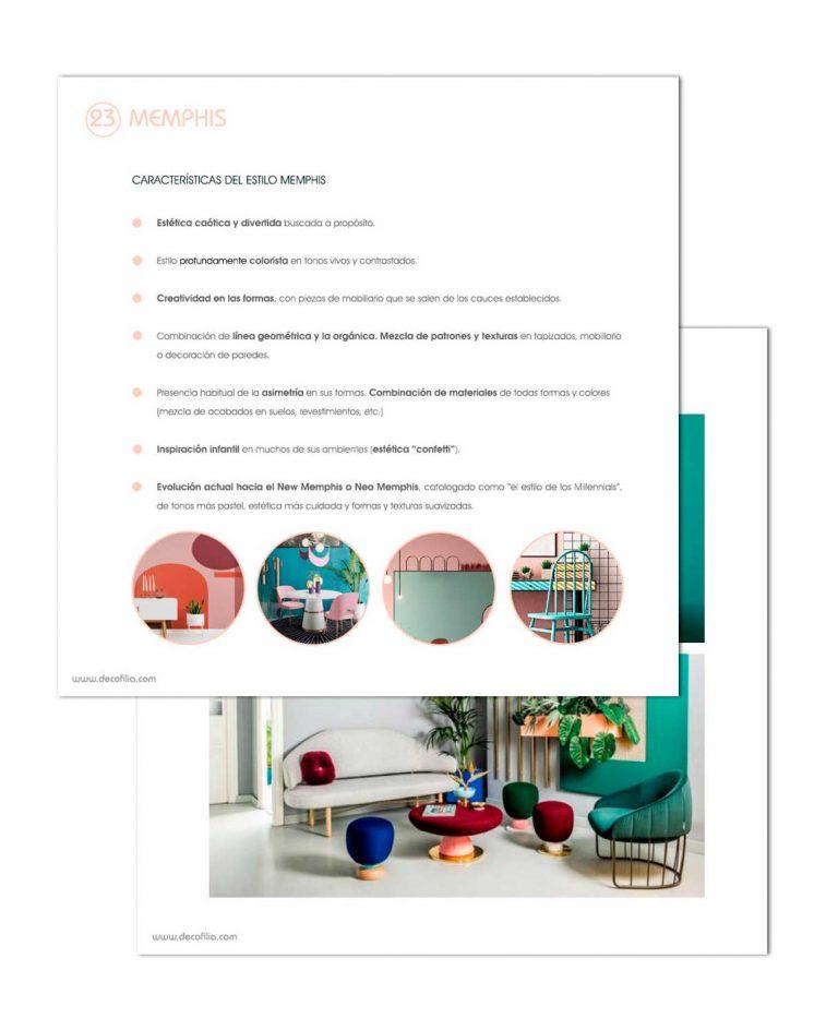 Página del curso de estilos de decoración de Decofilia